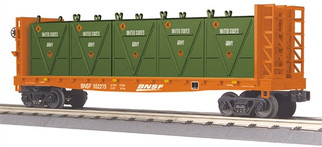 30-76604 O Scale MTH RailKing Flat Car w/Bulkheads & LCL Containers-BNSF