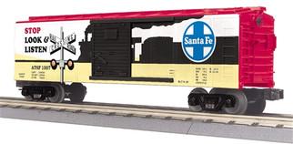 30-74829 O Scale MTH RailKing Boxcar w/Blinking LED's-Santa Fe