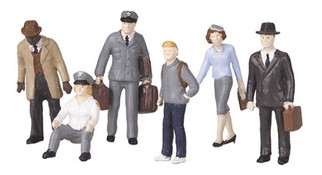 30-11048 O Scale MTH RailKing 6-Piece Figure Set#4 Bus Station Employees and Patrons
