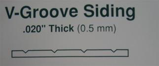 "2125 Evergreen Scale Models V-Groove .020 x 6 x 12, .125"" Spacing"