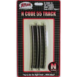 "2027 Atlas N Scale Code 55 Track 20"" Radius Half Curve (6 pcs/pk)"