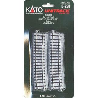 "2-290 Kato HO Unitrack 34 1/8"" Curve 10 Degree (2)"
