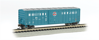 19653 N Scale Bachmann 50' Outside Braced Sliding Door Box Car-Middletown & New Jersey