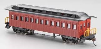 13402 HO Bachmann 1860-1880 Passenger Cars-Coach Painted, Unlettered-Red
