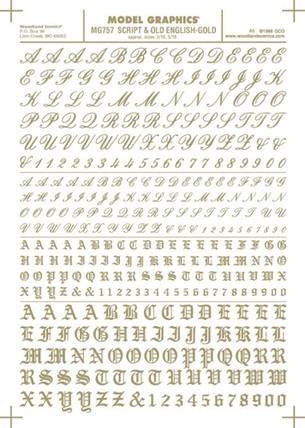 MG757 Woodland Scenics Co Dry Transfer Alphabet & Numbers - Railroad Script & Old English Gold