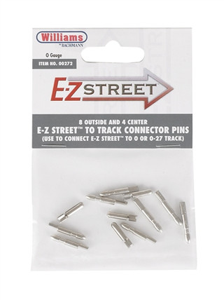 00272 O Williams by Bachmann E-Z Street(TM) Track Connector Pins (8 Outside and 4 Center)