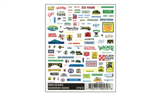 DT572 Woodland Scenics Dry Transfer Decals Mini-Series Business Signs