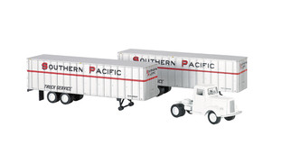 42231 Bachmann HO Scale 1950s/60s Truck Cab & 2 Piggyback Trailers-Southern Pacific
