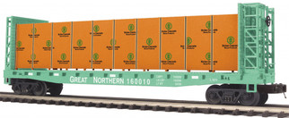 20-95200 O Scale MTH Premier Bulkhead Flat Car w?covered Wood Load-Great Northern