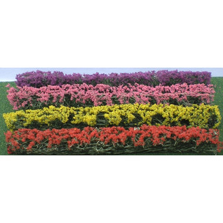 "95509 HO Scale JTT Scenery Flower Hedges 5"" X 3/8"" X 5"" Green, Blossom. Blended 8/pk"