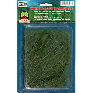 "95519 JTT Scenery Wire Foliage Branches Medium Green 1.5"" - 3"" High, 60/pk"