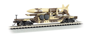 71397 N Scale Bachmann 52' Center Depressed Flat Car Desert Military w/Missle