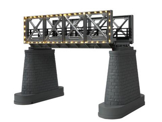 40-1118 O Scale MTH RealTrax Bridge Girder w/Operating White Lights-Silver
