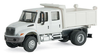 949-11634 HO Scale Walthers SceneMaster International 4300 Crew Cab Dump Truck-White w/Railroad Decal