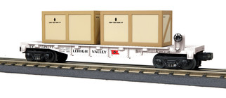 30-76704 O Scale MTH RailKing Flat Car w/(2) Crates-Lehigh Valley