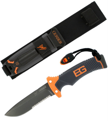 bear grylls ultimate fixed blade survival knife emergency whistle fire starter