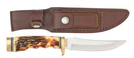 "schrade uncle henry golden spike hunting 5"" knife leather sheath"