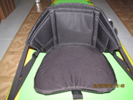 Removable seat has full wrap around design for back and lumber support.  Adjustment straps are within reach to set and adjust back angle while seated.