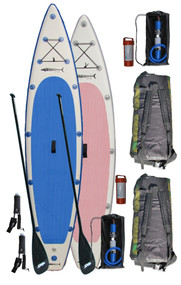 GT Dual Package (GT150 and GT126) includes 2 SUP boards, 2 Carbon Fiber SUP Paddles, 2 Bravo HD high volume inflation pumps, 2 ankle leash, 2 back packs and 2 patch kits.