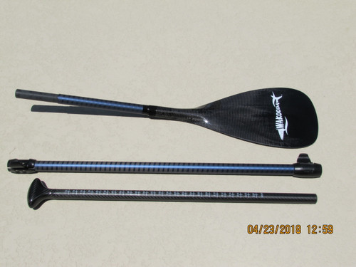 """Three pieces to this adjustable paddle allow you to adjust the paddle from 68"""" to 88"""".  No piece is larger than 36"""" so they all fit in standard inflatable sup board bags."""
