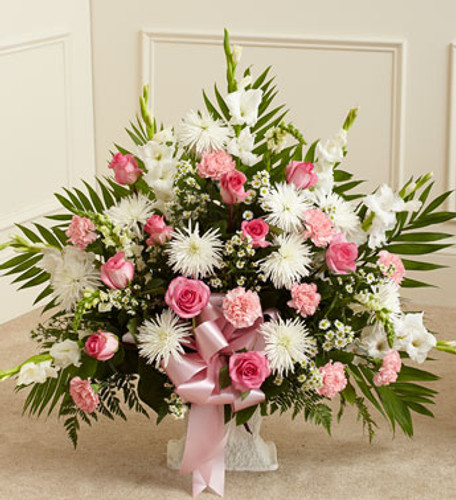 Pink & White Memories Funeral Basket