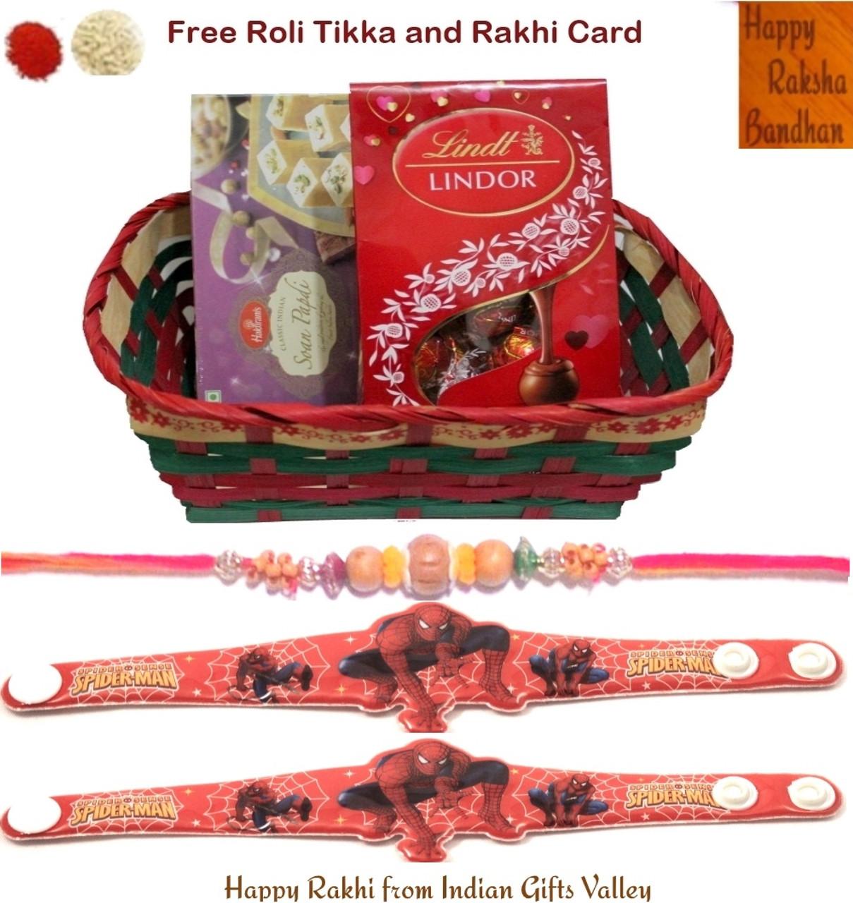 Rakhi Gift Hamper - Haldiram Soan Papdi, Lindt Lindor Chocolate ...