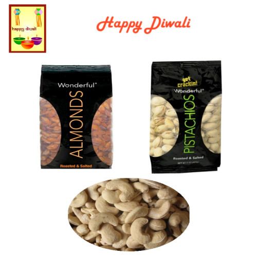 Diwali  Dry Fruits - Almonds, Cashews and Pistachios with Diwali Greeting Card