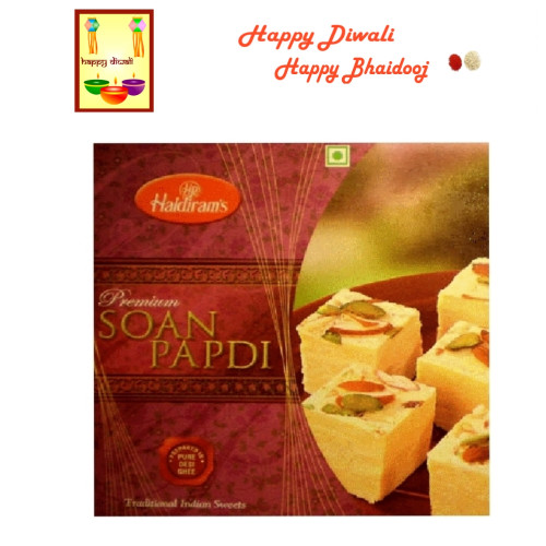 Diwali / Bhaidooj  Sweets- Haldiram Soan Papdi with Diwali Greeting Card and Roli Tika