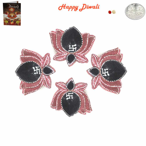 Beautiful Diwali  Diyas - Pack of 4 with Diwali Greeting Card