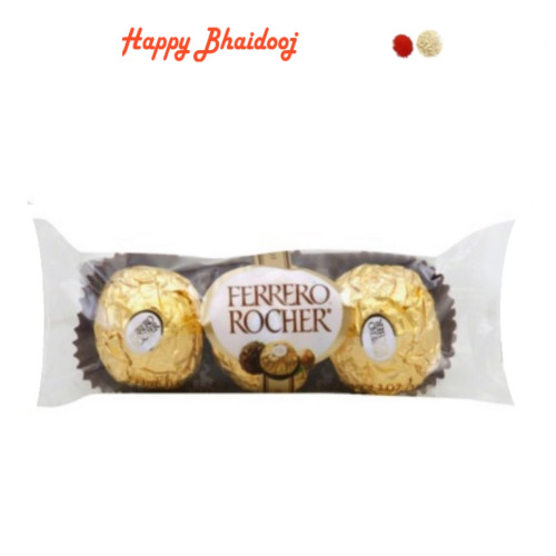 Bhaidooj  Chocolates- Ferrero Rocher Chocolates (3pc) with Roli Tika