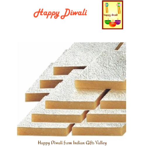 Diwali  Sweets- Kaju Katli with Diwali Greeting Card