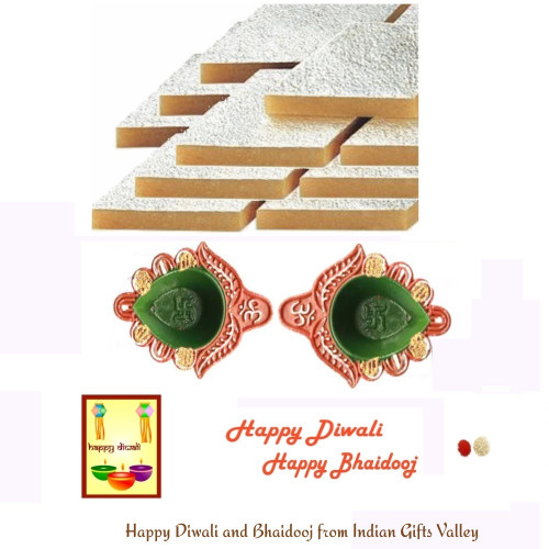 Diwali/Bhaidooj  Sweets- Kaju Katli with 2 Diyas and Diwali Greeting Card and Roli Tika