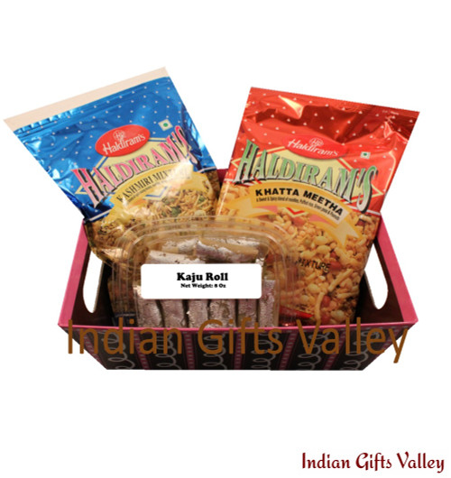 Gift Hamper - Kaju Roll, Haldiram Namkeens in a Beautiful Basket