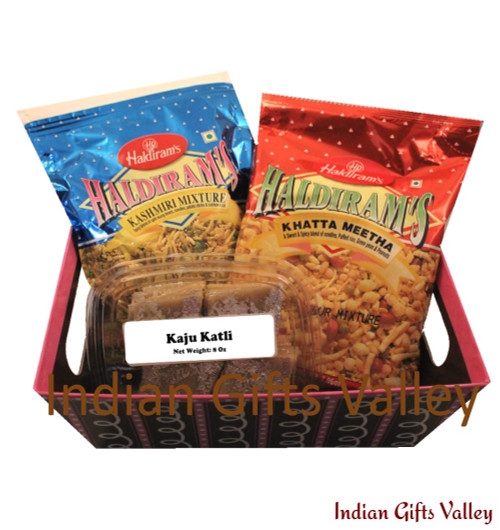 Gift Hamper - Kaju Katli, Haldiram Namkeens in a Beautiful Basket
