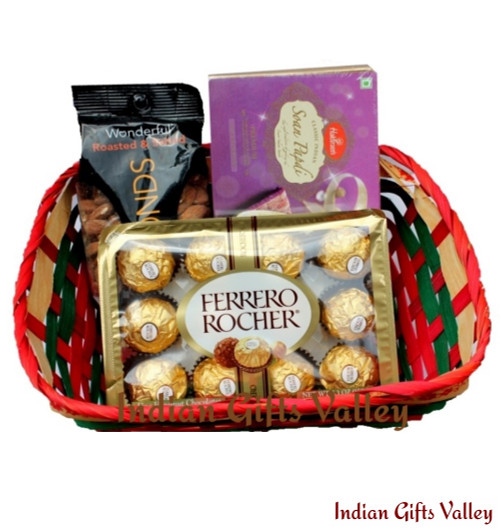Gift Hamper - Soan Papdi, Ferrero Rocher and Almonds