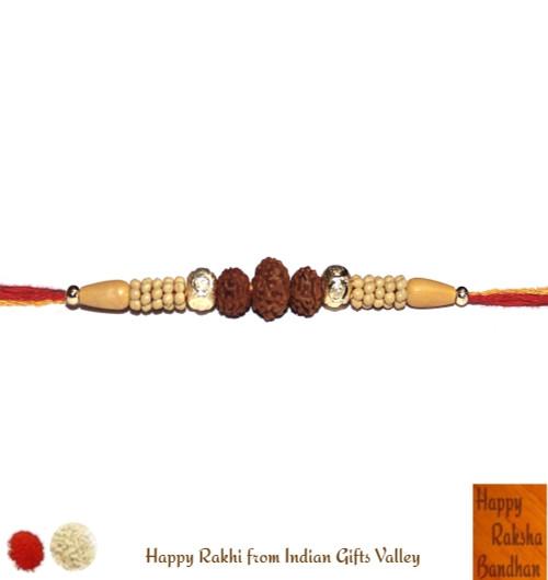 Golden Beads Rudraksha Rakhi