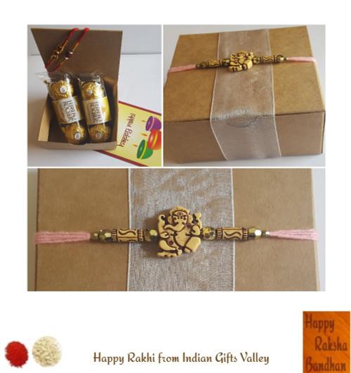 Rakhi Gift Box - 2 Beautiful Rudraksha Rakhi with 6 pc Ferrero Rocher