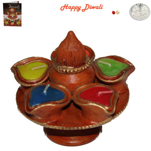 Beautiful Earthen Colorful Panch Flower Diwali Diya with Coconut Design At Top - Wax Filled