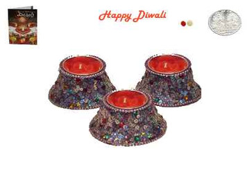 Beautiful Crystal Rose Candle Diya - Set of 3