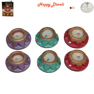 Beautiful Earthen Matki Diwali Diya - Wax Filled