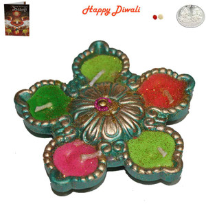 Beautiful Earthen Colorful Panch Flower Diwali Diya - Wax Filled