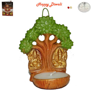 Beautiful Earthen Laxmi Ganesh on Tree Wax Diya