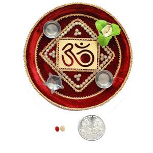 Bhai Dooj Decorative Om Puja Thali with Roli Tikka