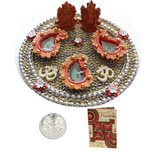 Beautiful Diwali Ganesh Laxmi Puja Thali with Diwali Greeting Card