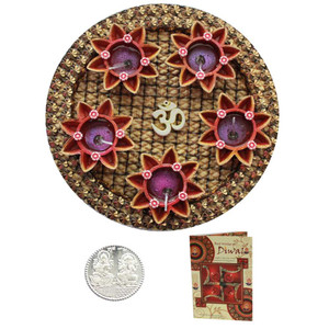 Beautiful Diwali Om with 5 Diya Thali with Diwali Greeting Card