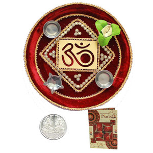 Beautiful Diwali Om Puja Thali with Diwali Greeting Card