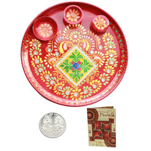 Beautiful Diwali  Puja Thali with Diwali Greeting Card