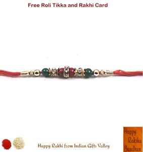 Beautiful Red and Green Beads Rakhi