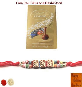 Om Colorful Beads Beads Rakhi with Lindt Lindor Assorted Truffles