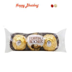 Bhaidooj  Chocolates- Ferrero Rocher Chocolates (3pc) with Roli Tika
